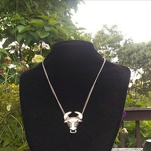 NOS 1978 Wild Country Pewter Bull Necklace NWOT